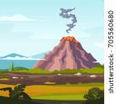 wild landscape with volcano and ... | Shutterstock .eps vector #705560680