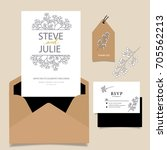wedding invitation card... | Shutterstock .eps vector #705562213