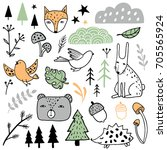 forest colorful set. animals ... | Shutterstock .eps vector #705565924