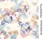 Stock photo summer flowers seamless pattern watercolor background 705569776