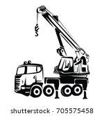 truck crane vector | Shutterstock .eps vector #705575458