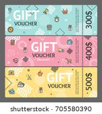 gift voucher card horizontal... | Shutterstock .eps vector #705580390