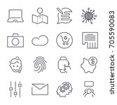 different universal icons. thin ... | Shutterstock .eps vector #705590083