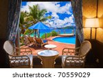 Hotel Room And Beach Landscape  ...