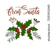 vector christmas card with hand ... | Shutterstock .eps vector #705591040