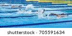 swimming at pool  water sport... | Shutterstock . vector #705591634