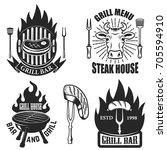 set of grill  steak house... | Shutterstock .eps vector #705594910