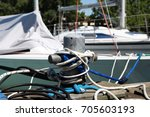 mooring bollard with ropes | Shutterstock . vector #705603193