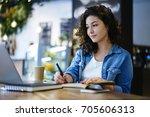 pensive female copywriter... | Shutterstock . vector #705606313
