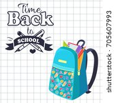 time back to school poster with ... | Shutterstock .eps vector #705607993