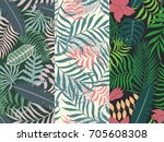 set of three seamless floral... | Shutterstock .eps vector #705608308