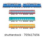 vector flat  railway locomotive ... | Shutterstock .eps vector #705617656