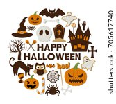 happy halloween vector... | Shutterstock .eps vector #705617740