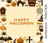 happy halloween vector... | Shutterstock .eps vector #705617824