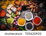selection of spices herbs and... | Shutterstock . vector #705620920