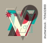 abstract v letter design  made... | Shutterstock .eps vector #705632800