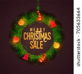merry christmas sale background ... | Shutterstock .eps vector #705633664