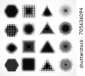 vector set of various halftone... | Shutterstock .eps vector #705636094