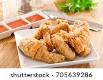 fried chicken and vegetables... | Shutterstock . vector #705639286