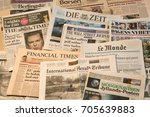 world newspapers detail of... | Shutterstock . vector #705639883