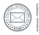 black postal stamp rome  italy. ...   Shutterstock .eps vector #705640573