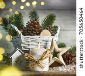 stylish rustic christmas... | Shutterstock . vector #705650464