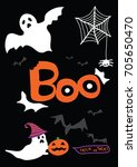 happy halloween party ... | Shutterstock .eps vector #705650470
