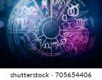 zodial sign horoscope cirlce on ... | Shutterstock . vector #705654406
