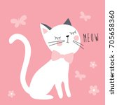 white cat with butterflies and... | Shutterstock .eps vector #705658360
