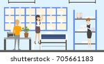 post office interior.... | Shutterstock . vector #705661183