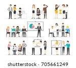 office illustration set on... | Shutterstock . vector #705661249