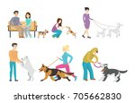 Stock photo dog walking set set of isolated illustrations of people with pets 705662830