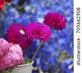 A Bouquet Of Dahlias In A...