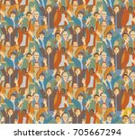 big crowd happy people seamless ... | Shutterstock .eps vector #705667294