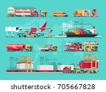 delivery service concept.... | Shutterstock .eps vector #705667828