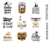 vector set of hand lettering... | Shutterstock .eps vector #705672418