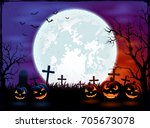 halloween theme with big moon... | Shutterstock . vector #705673078