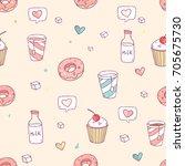cute vector seamless pattern... | Shutterstock .eps vector #705675730