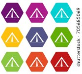 tent icon set many color... | Shutterstock .eps vector #705685069