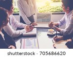 businesswoman show business... | Shutterstock . vector #705686620