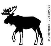 a silhouette of an elk in black ... | Shutterstock .eps vector #705689719