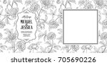 invitation wedding card with... | Shutterstock .eps vector #705690226