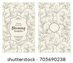 invitation card with flowers.... | Shutterstock .eps vector #705690238