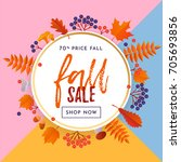 fall sale banner with gold... | Shutterstock .eps vector #705693856