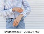 stylish woman wearing blue...   Shutterstock . vector #705697759
