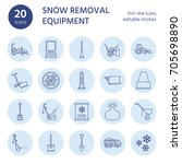 snow removal flat line icons.... | Shutterstock .eps vector #705698890