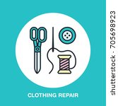 clothing repair service line... | Shutterstock .eps vector #705698923
