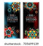 old school tattoo art flowers... | Shutterstock .eps vector #705699139