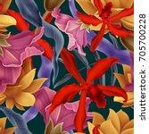 seamless tropical flower  plant ... | Shutterstock . vector #705700228
