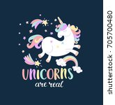 unicorn are real with stars ... | Shutterstock .eps vector #705700480